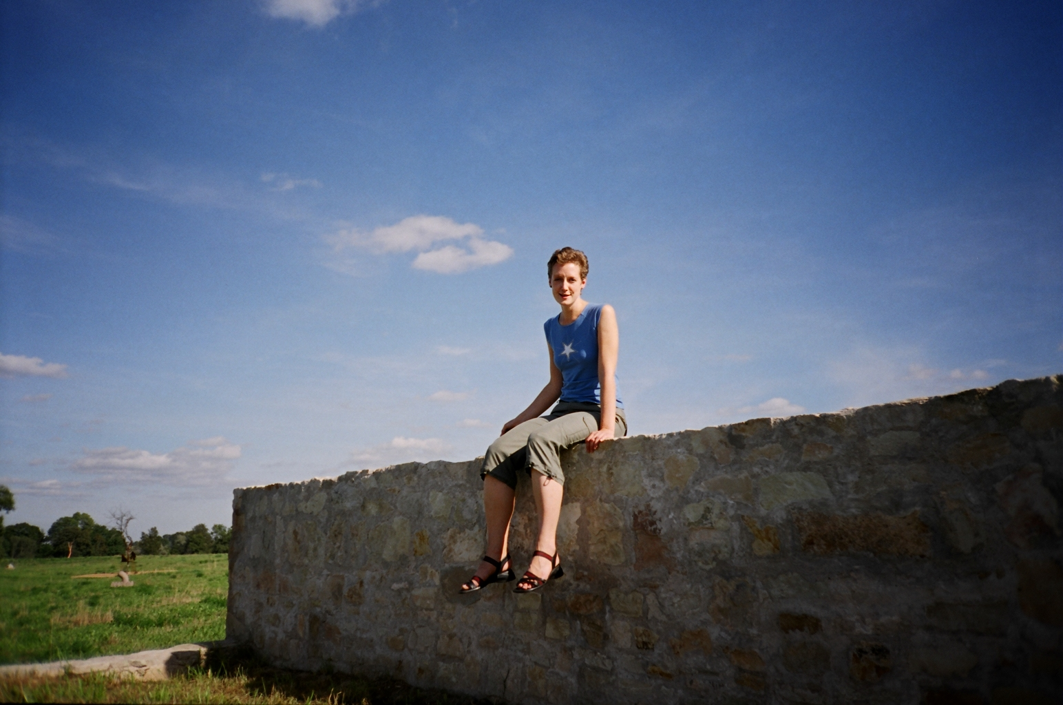 Artist Laura Feldberga on her object  Bed  (2004). Stone, soil. Pedvale Open-Air Art Museum, Latvia. Photo: © Alise Tifentale.