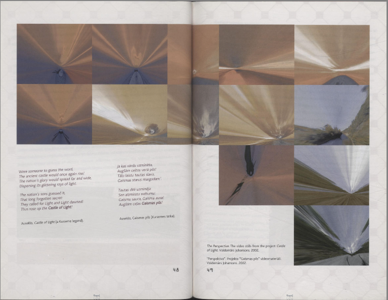 Spread from the catalogue of the Latvian pavilion, available at  https://dom.lndb.lv/data/obj/90244.html