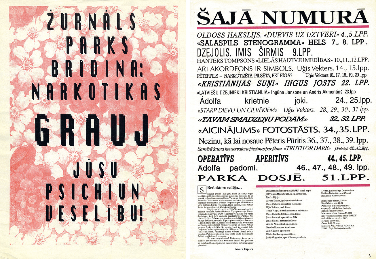 Table of contents from the legendary underground magazine  Parks,  published in the early 1990s in Riga.