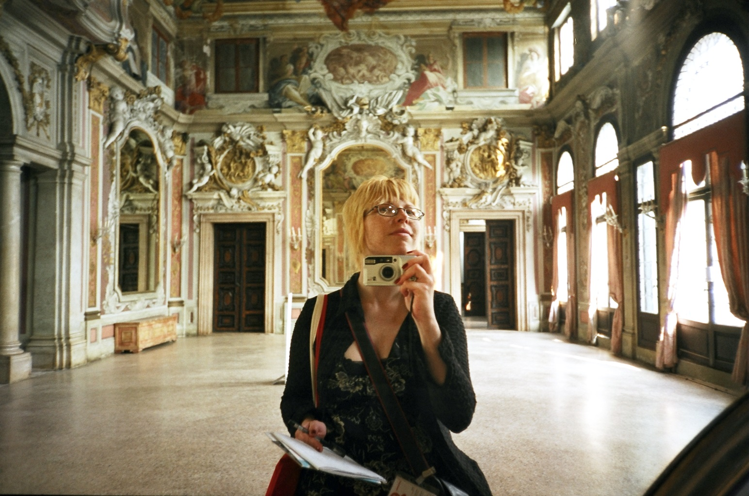 Alise Tifentale as an art critic at the Venice Biennale, 2005.