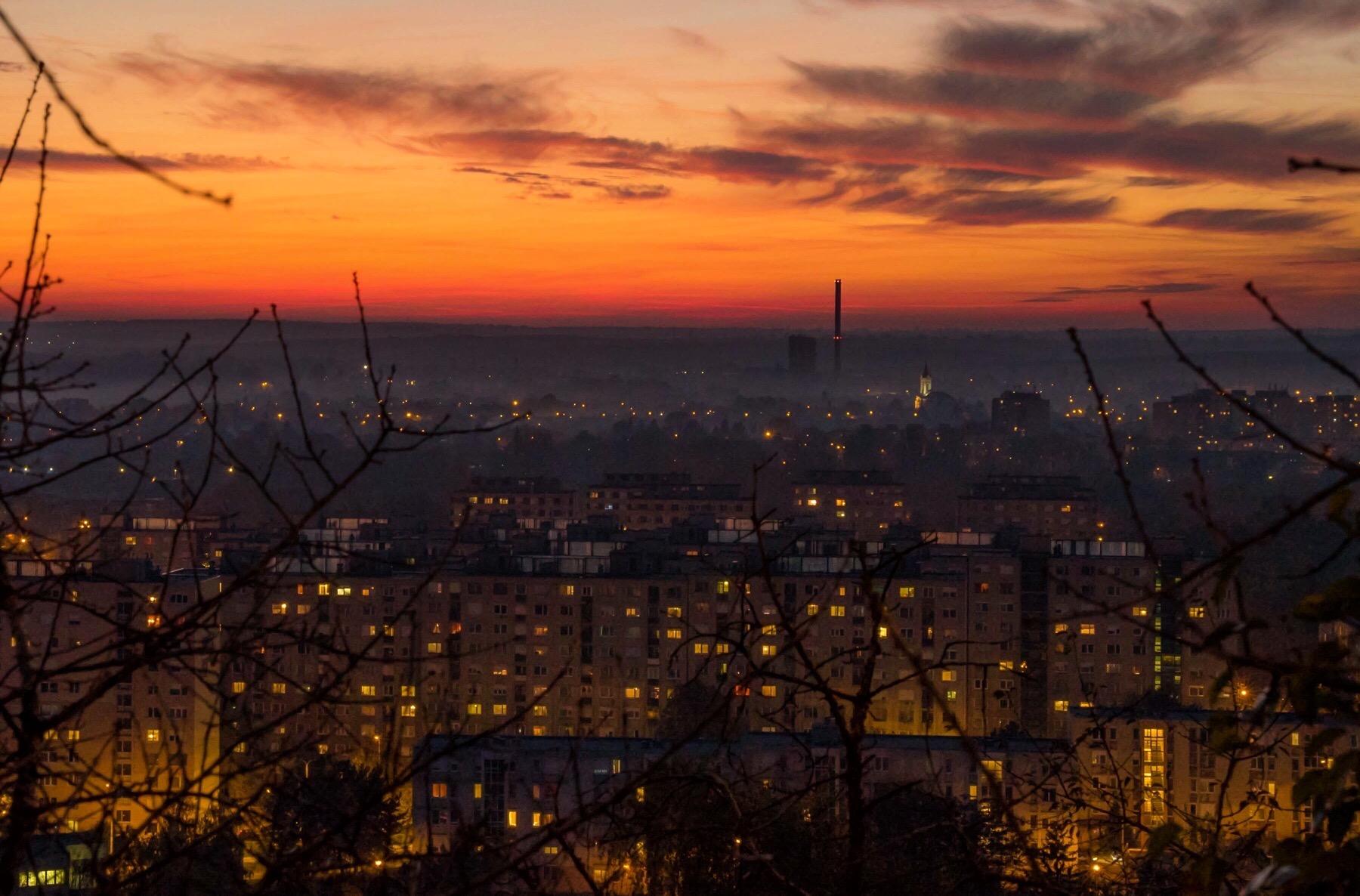 Sunset over Tatabanya, Hungary