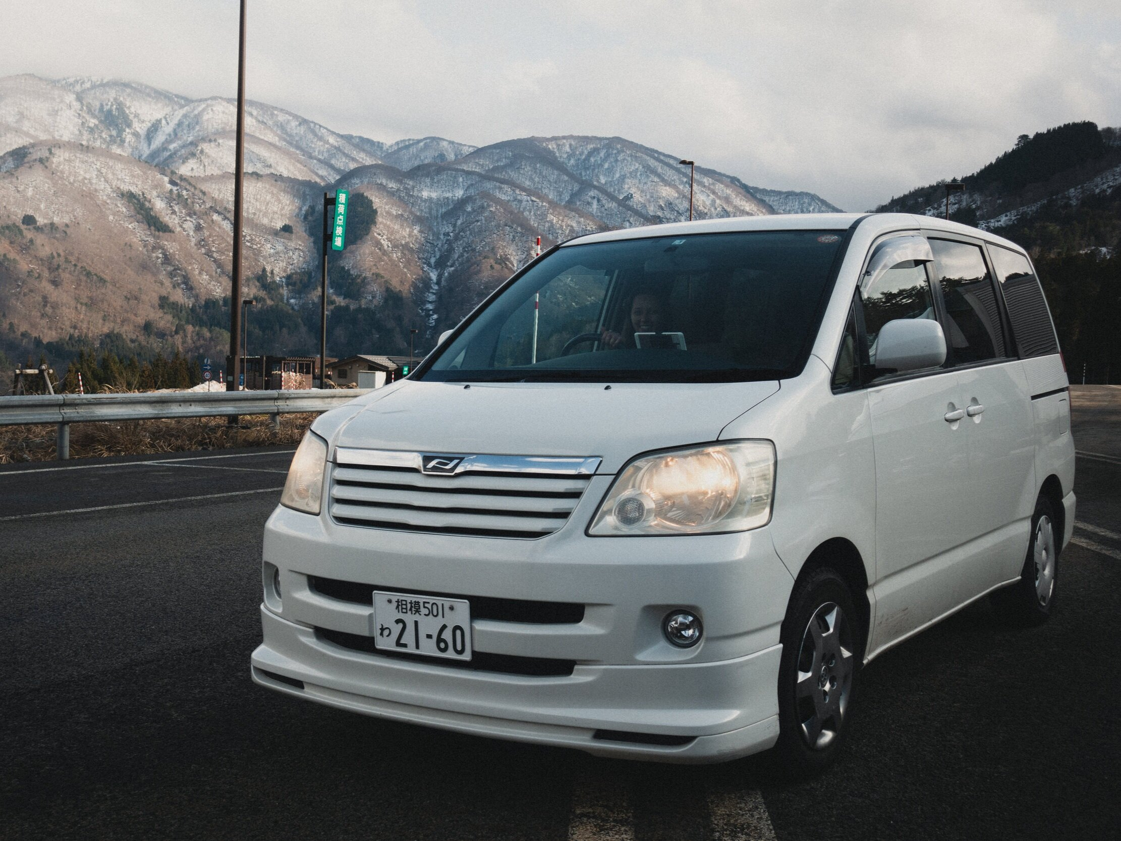THIS is our van! You drive on the opposite side of the road in Japan, so the driver's side is also on the right side of the car.
