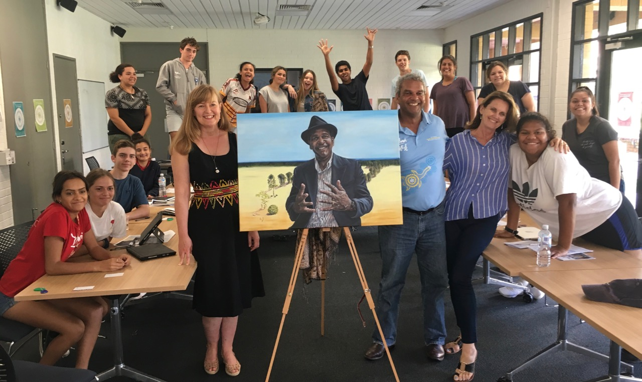 Presenting Waverley Stanley's Portrait to his yr 11 Yalari group at Queens College Melbourne.