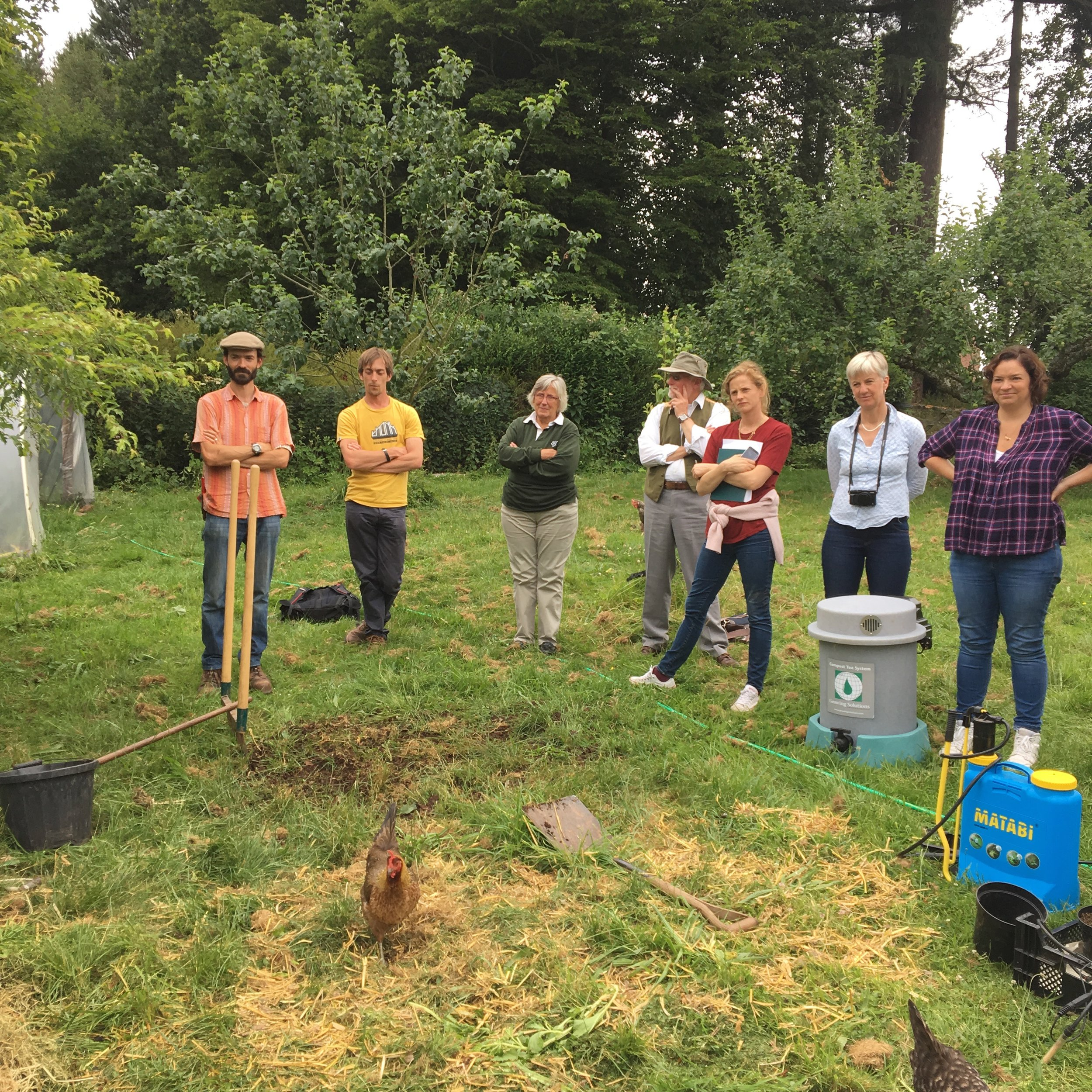 Colum and the group on the compost workshop