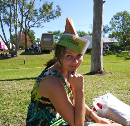 Glitter earrings, Chewbacca ring, dinosaur dress and novelty hat. Yes, this photograph represents me well.