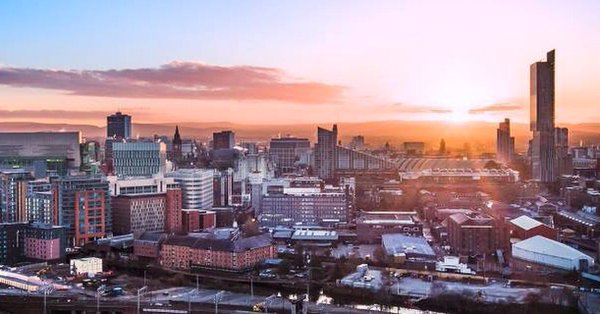Manchester at sunset.