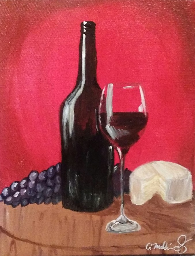wine bottle and glass with cheese and grapes.jpg