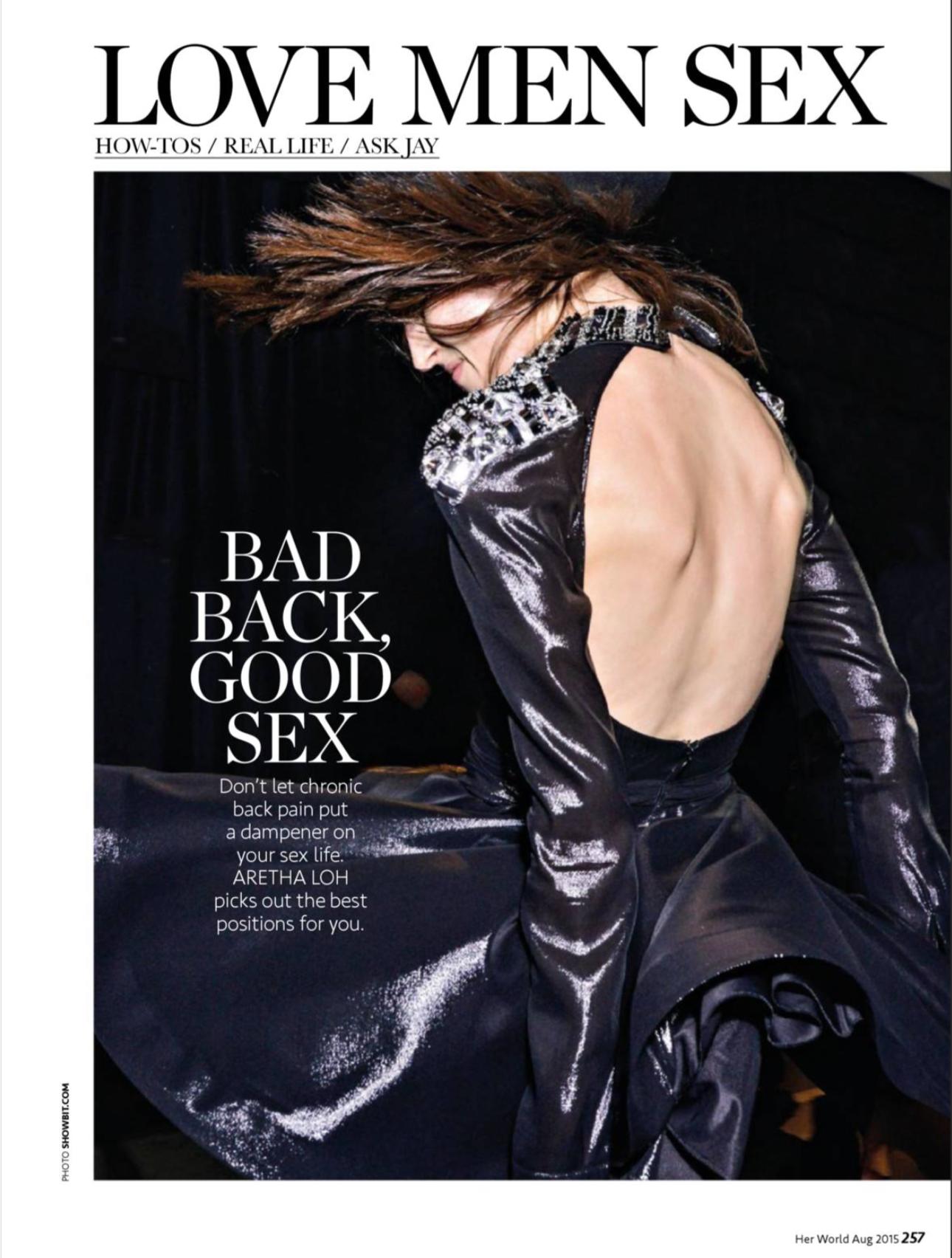men love sex back pain her world magazine Singapore