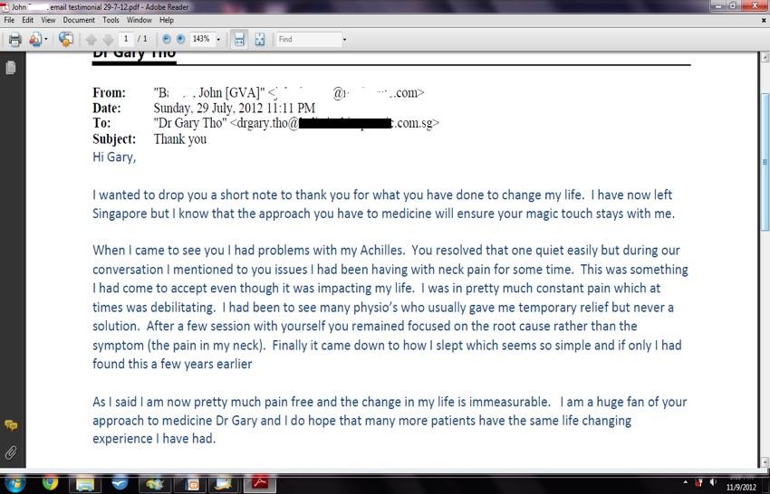 John's testimonial of success and gratitude to dr gary tho chiro singapore