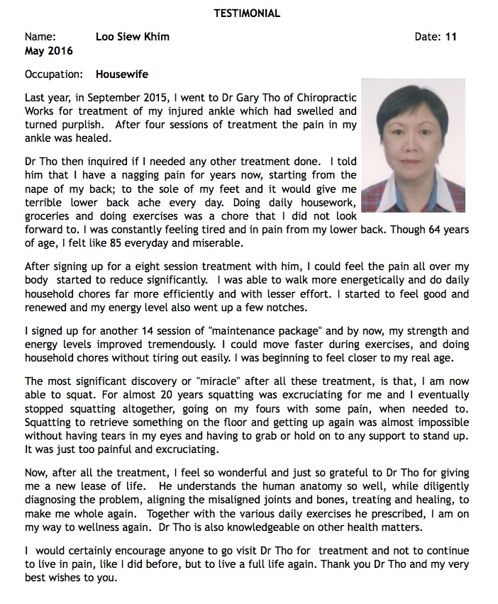 chiropractic works singapore. dr gary tho testimonial happy clients
