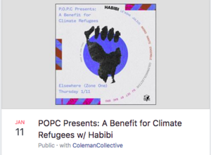 The New Yorker features headliner band Habibi at CLIMATE REFUGEES benefit presented by POPC - January 11, 2018
