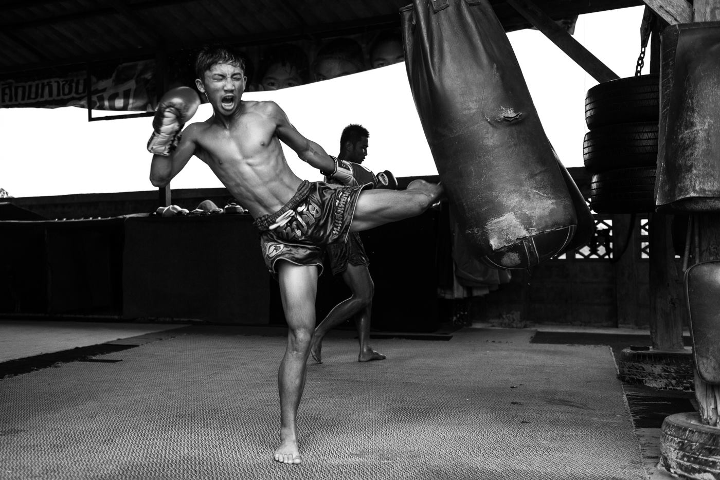 Bag work on the mats at Sangtiennoi Gym
