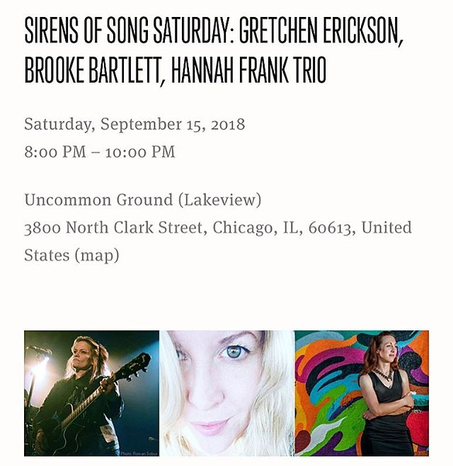 """SIRENS OF SONG SATURDAY"" on Sat, Sept 15 at 8pm!! A night of female fronted music at @uncommongrd lakeview❤️🎵Link in bio!"