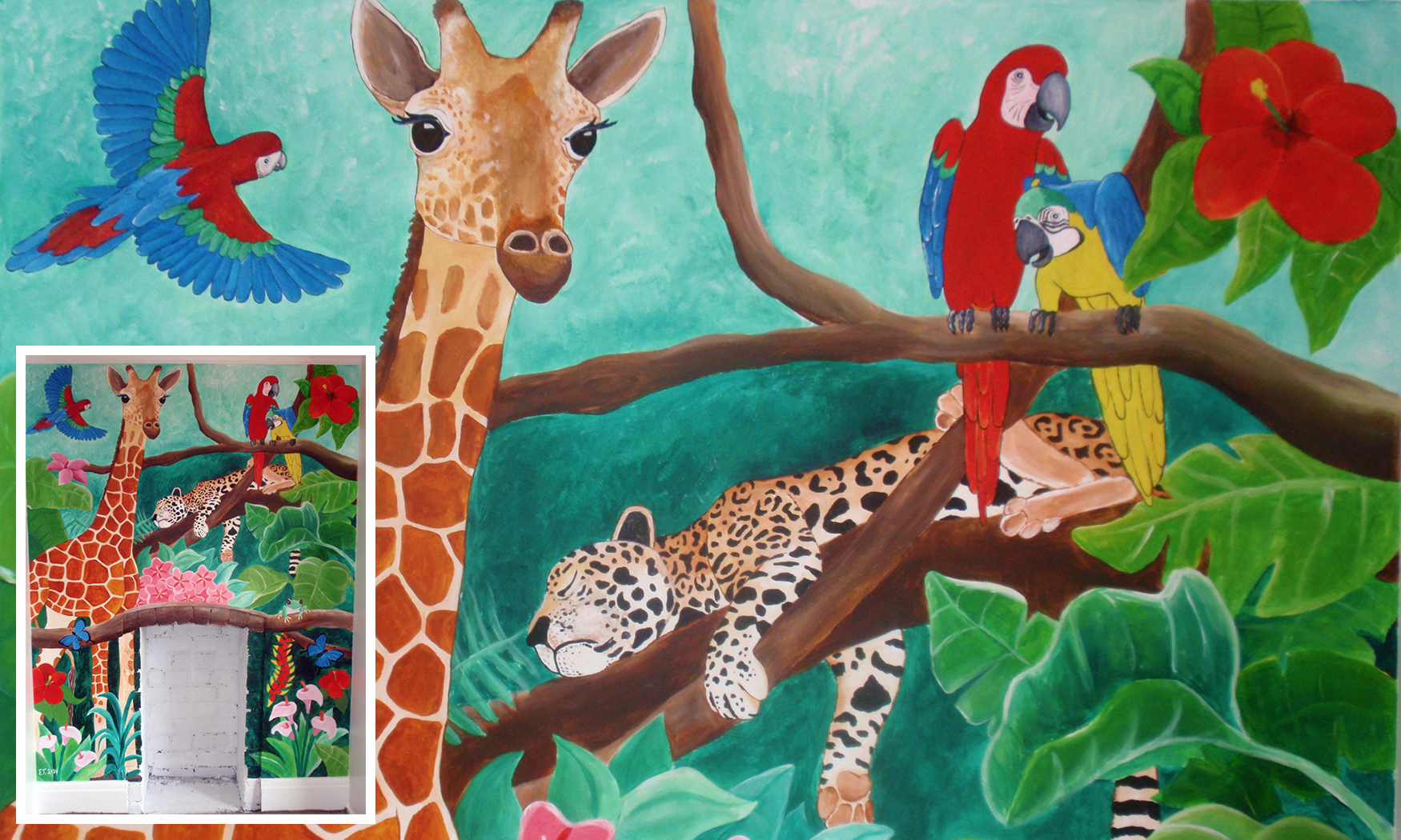 Children's Bedroom Jungle Mural, Private Commission