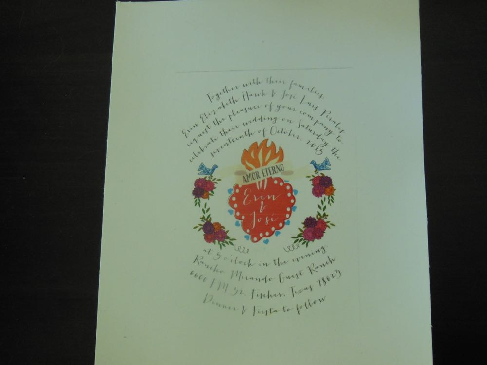 A customer's wedding invitation he needed printed onto our custom fabric blocks.