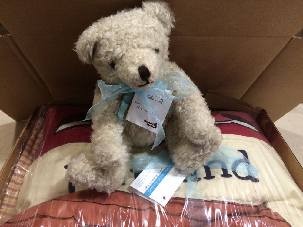 The bear is ready to deliver best wishes to a new arrival when the baby quilt arrives.