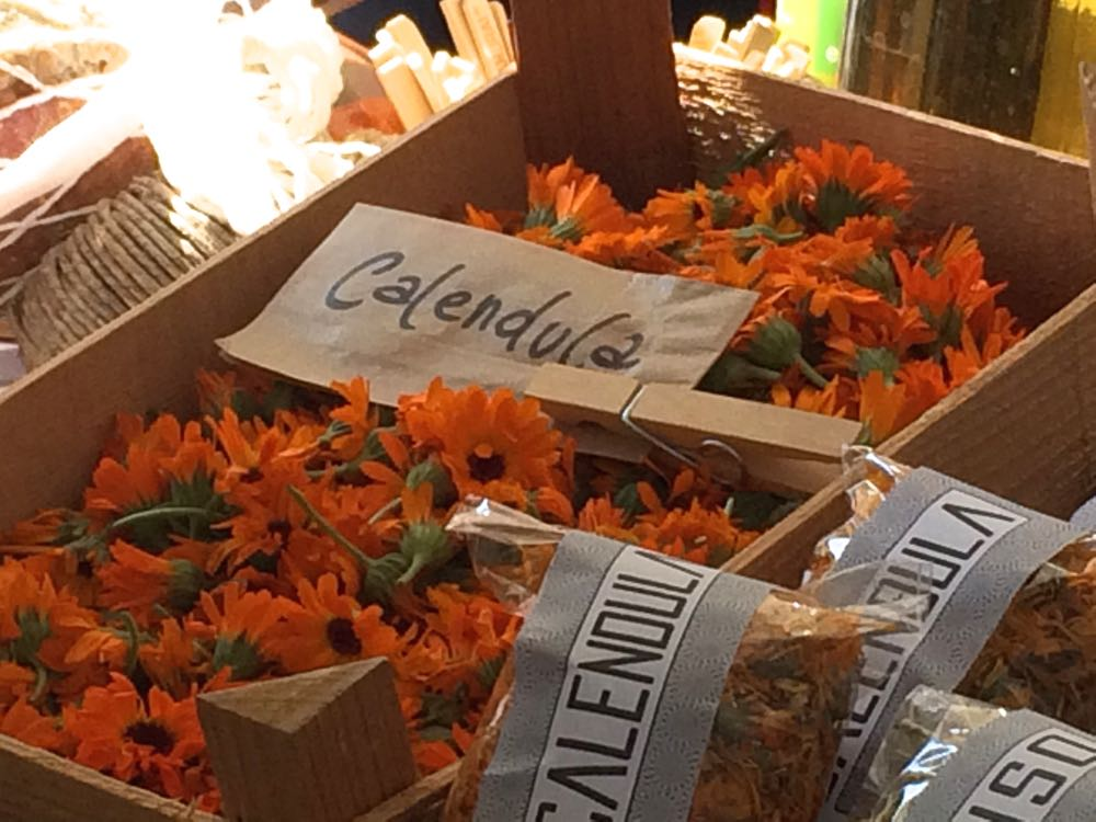 Dried calendula at a Turin, Italy market September 2016.