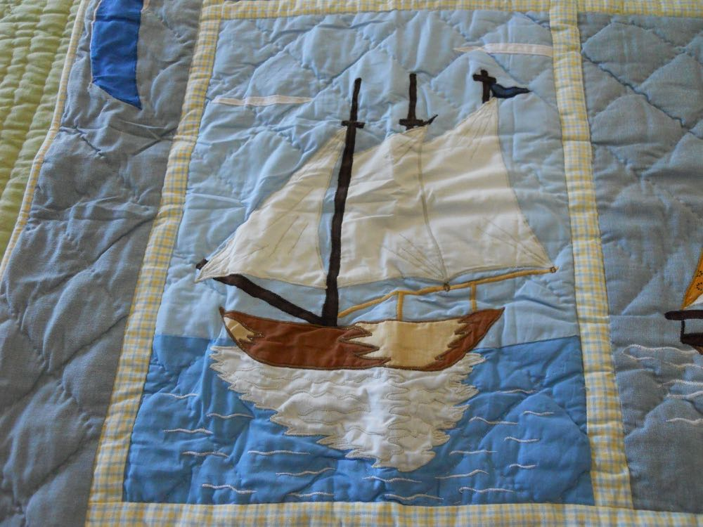 The details of Nautical Baby Crib Quilt and Wall Hanging are lovely close up.