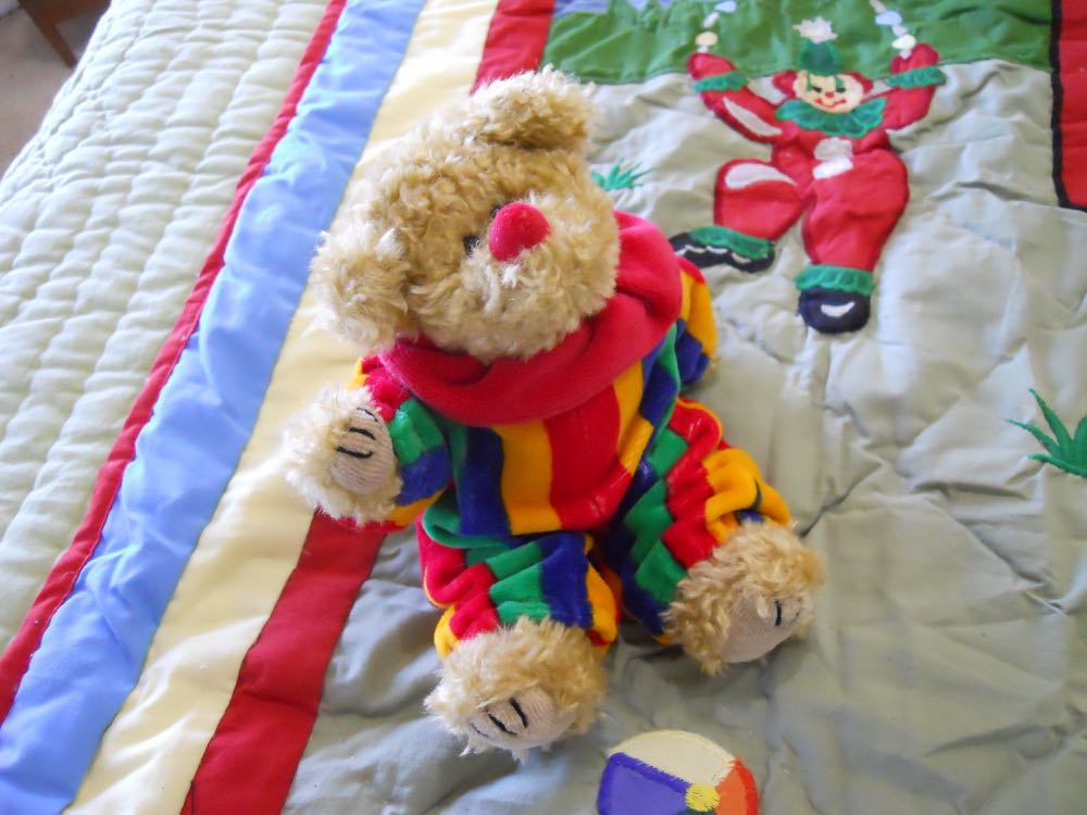 Little clown bear will carry the Circus Baby Crib Quilt care guide.