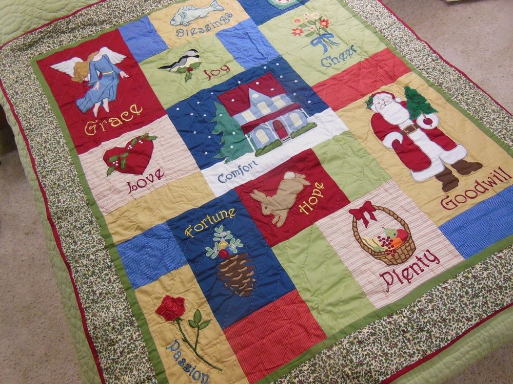12 Good Wishes Throw would make a lovely quilted wall hanging at an entrance for holiday decor.