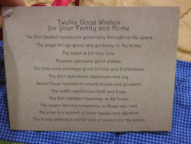 With each 12 Good Wishes Throw, an explanation of the wishes enclosed.