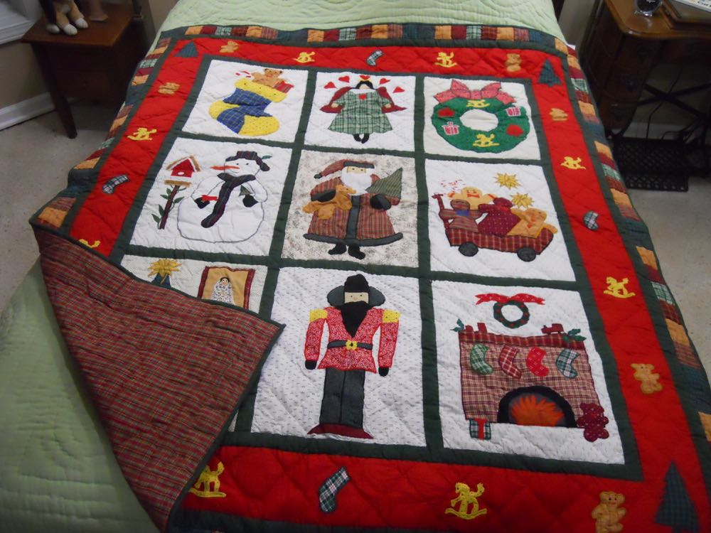 Holiday Traditions Quilt Throw Wall Hanging celebrated the best of the Christmas holiday.