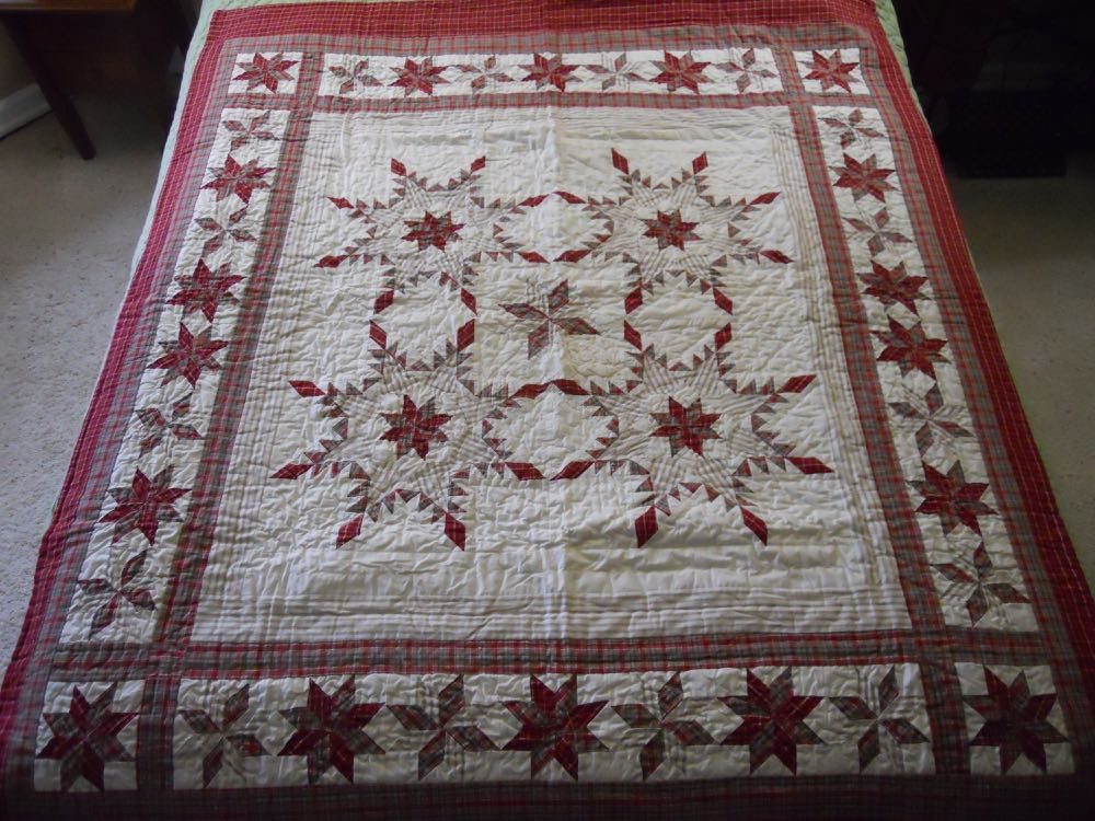 Several feathered stars form the center of this red feathered star quilt throw.