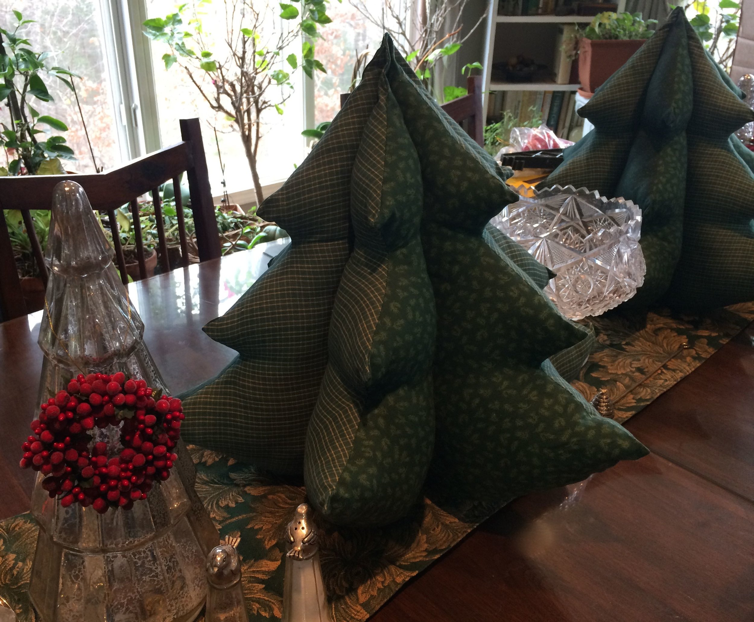 Fabric Christmas trees now on my dining room table, adopted from a local thrift store.