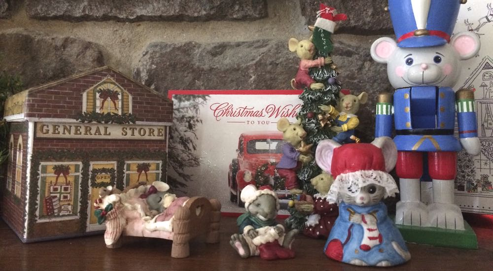 My fireplace mantle village has a portion full of little mice gift figurines, only one a purchase.