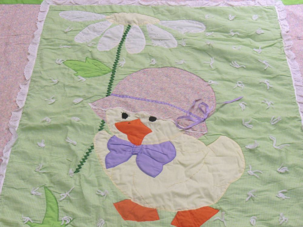 Vintage Daisy Duck baby quilt is almost a duplicate of a customer's daughter's favorite baby quilt.