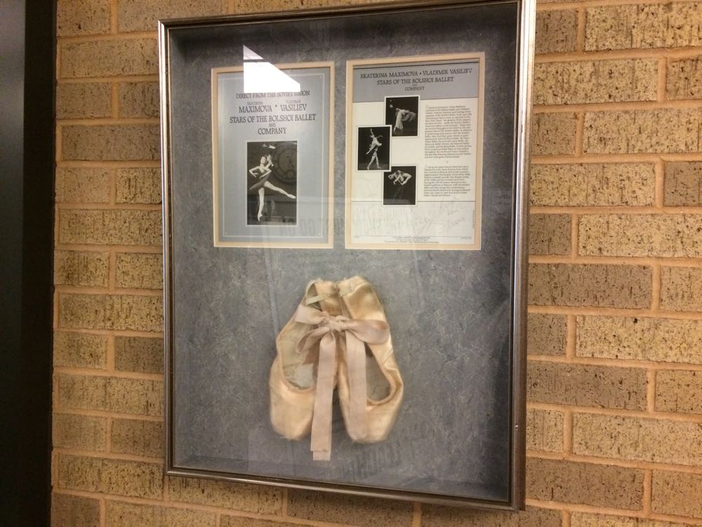 Love to stop by and look at these toe shoes at Leach Theatre on S&T Campus, Rolla, Missouri.