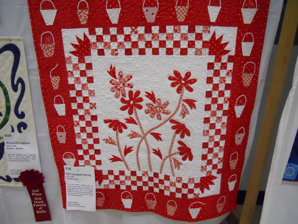 Cynthia Felts made this design for what she called a red and white spring handmade quilt.