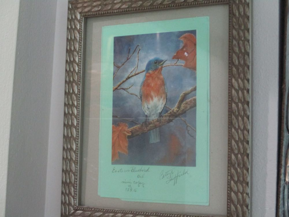 This  bluebird  was painted by the signer of the card and was turned into a lovely thank you card I was lucky enough to get.