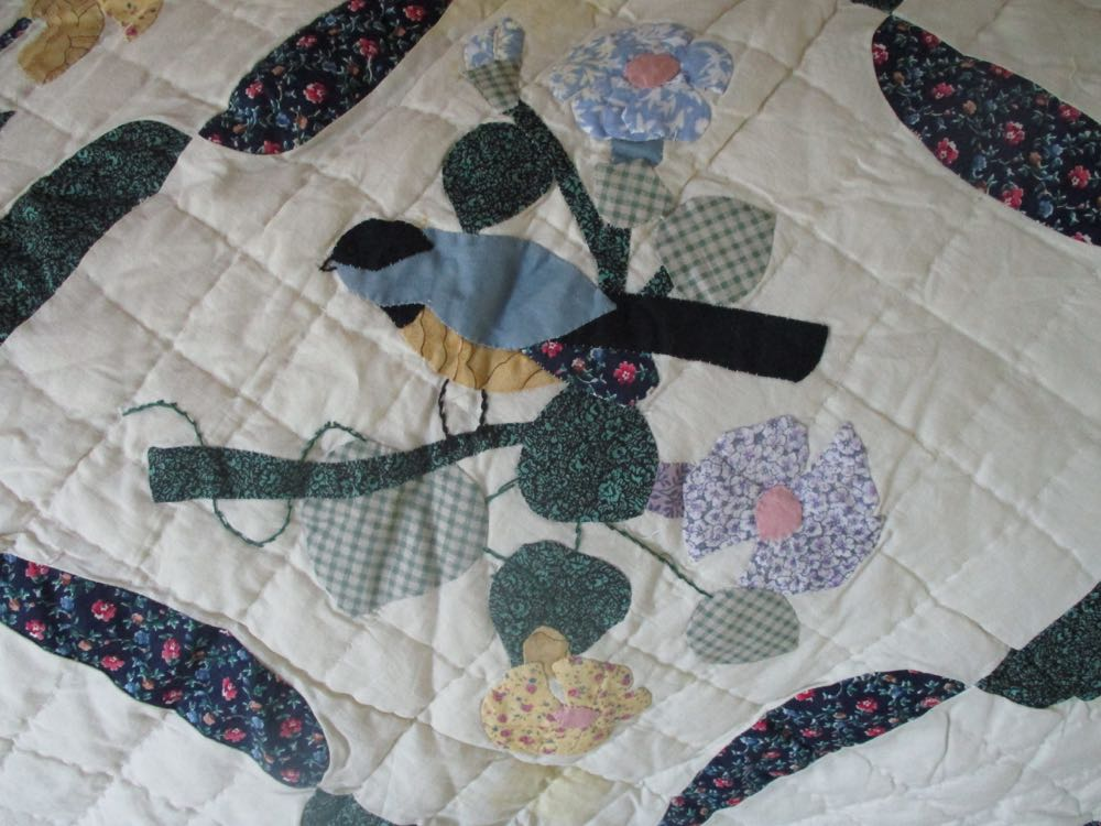 This Birds in Flowers Handmade Quilt block reminds me of chickadees on morning glories.