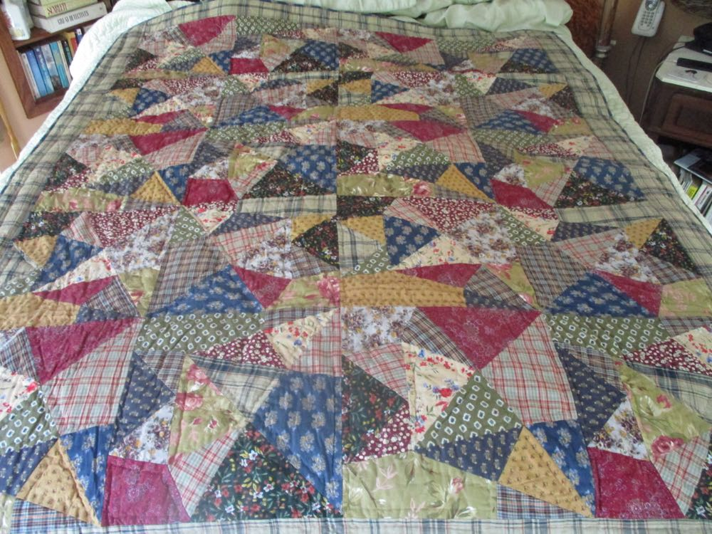 This Crazy Quilt throw is a modern take on the Victorian-Era quilt design.