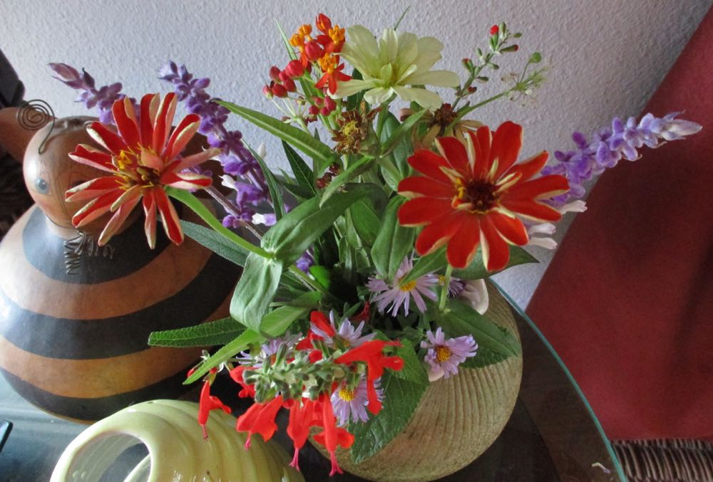 Colder weather is starting to move in so I picked a fall bouquet featuring my blooming zinnias.