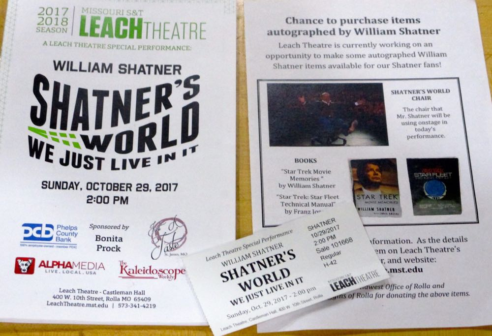 These were the flyers associated with William Shatner's visit to Rolla October 29, 2019.