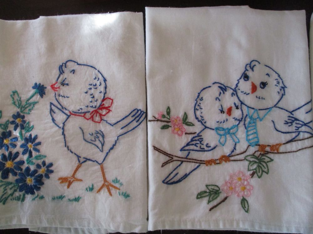 This set of bluebird dish towels can be divided into two separate gift sets, too.