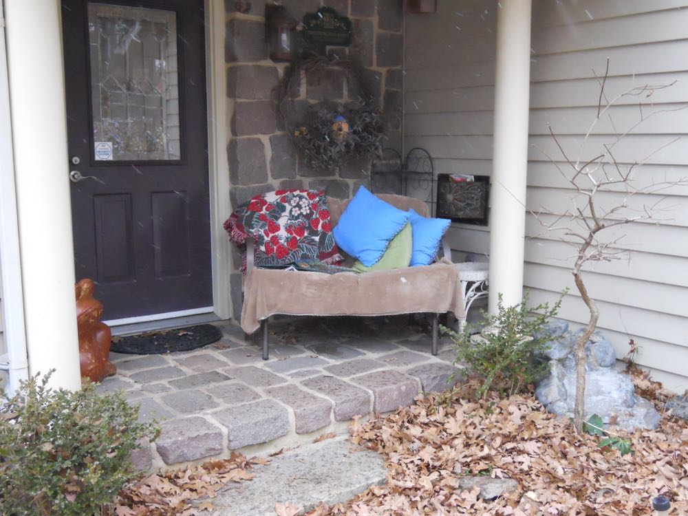 This is the reading nook on my front porch, a little sparse now but full of plants in summer.