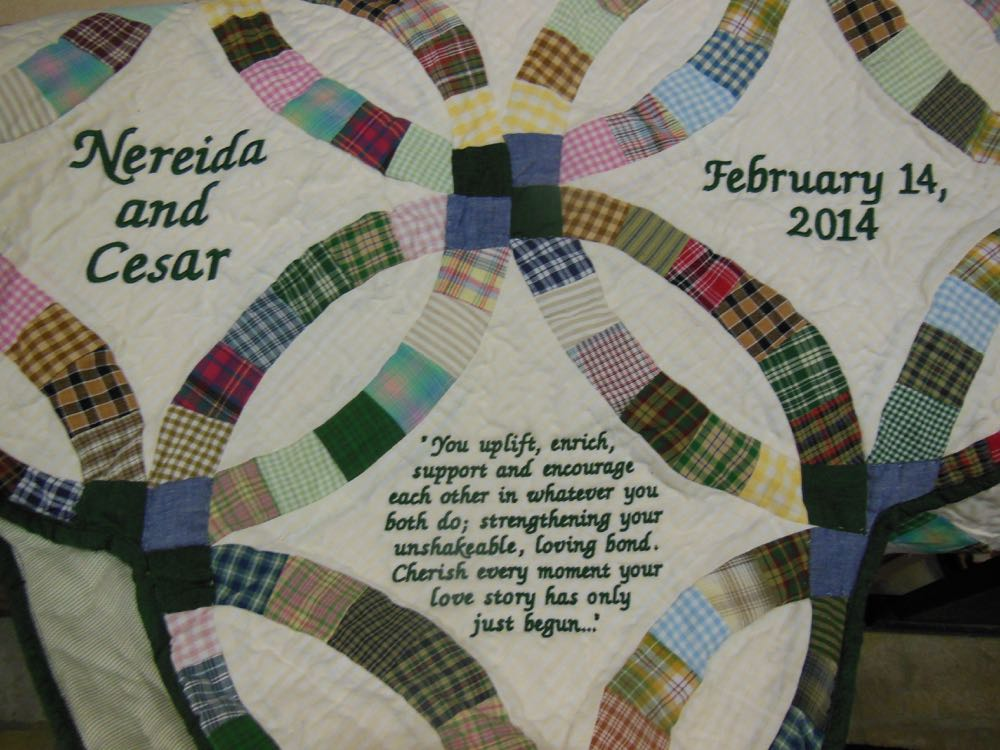 Here's one example of how a customer featured a quote in the corner of a quilt.