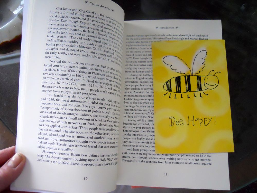 """One of my favorite magnet book marks was made out of this little """"bee happy"""" thank you card."""