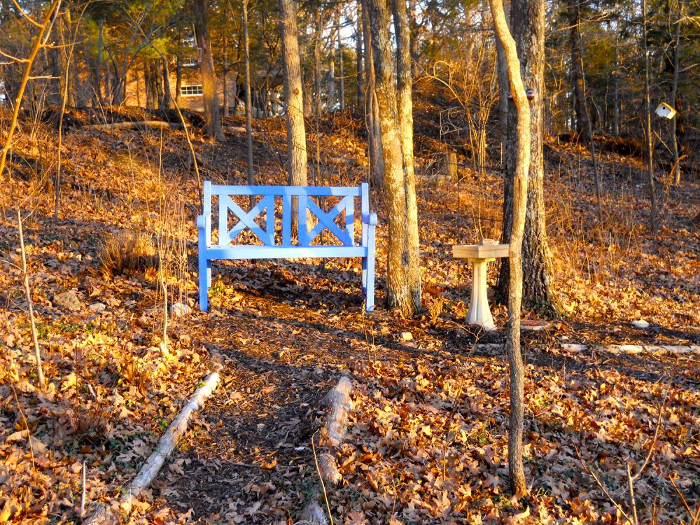 My formerly-red garden bench had a new back added and a couple coats of blue paint.