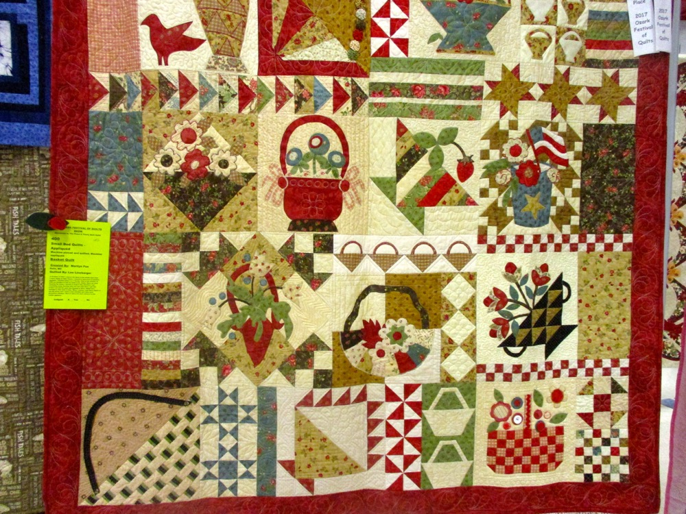 Can you spot all of the baskets in this handmade quilt by a master gardener friend?