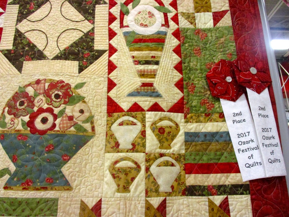 Basket handmade quilt won a second place award at the quilt guild show last fall.