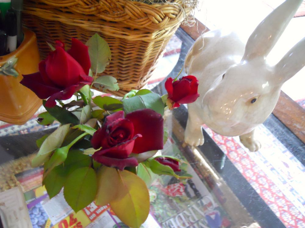 Hardly. There is a rabbit but its porcelain and still has the good taste to admire the flowers. (Photo by Charlotte Ekker Wiggins)