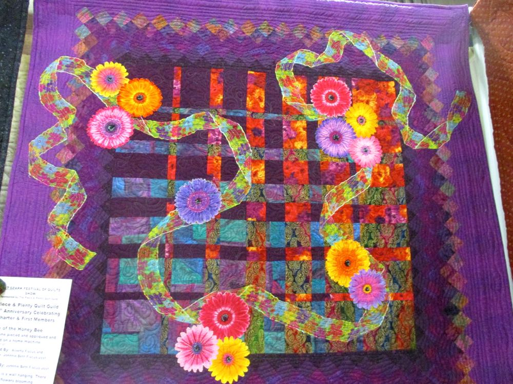 Love the bright colors in Flight of the Honeybee handmade quilt and wall hanging. (Photo by Charlotte Ekker Wiggins)
