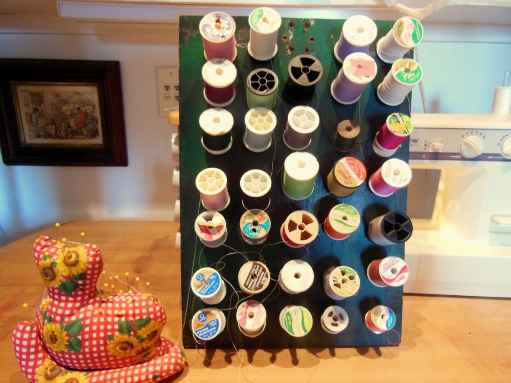 The handmade spool organizer my brother made when he was 9 yrs old. (Photo by Charlotte Ekker Wiggins)