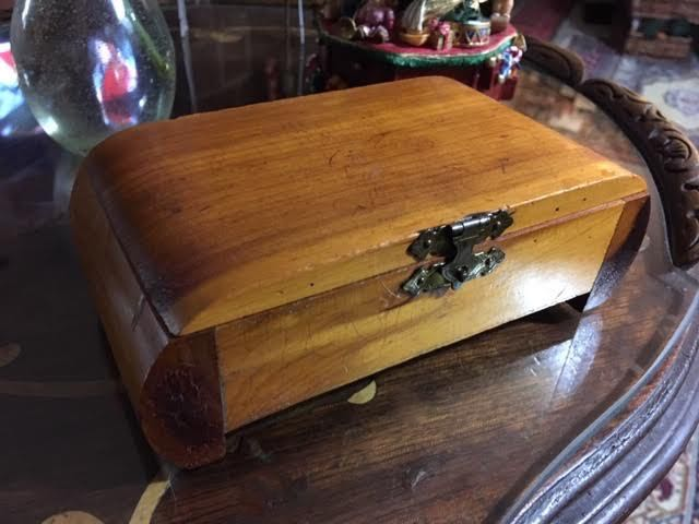 The finished scratched up cedar box ready for its debut. (Photo by Charlotte Ekker Wiggins)