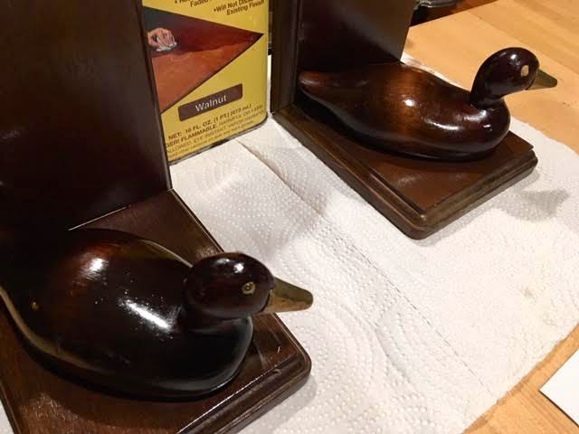 Wood duck book ends with one layer of walnut Howard RestoraFinish. (Photo by Charlotte Ekker Wiggins)