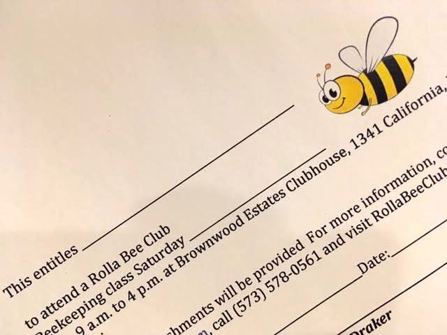 A gift certificate to basic beekeeping classes by  Rolla Bee Club.  (Photo by Charlotte Ekker Wiggins)